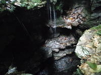 Waterfall in Vertical Entrance to Boulder Cave